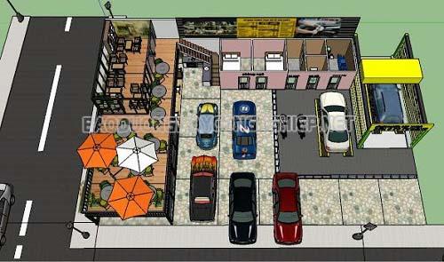 Thiết kê mô hình trạm rửa xe chuyên nghiệp