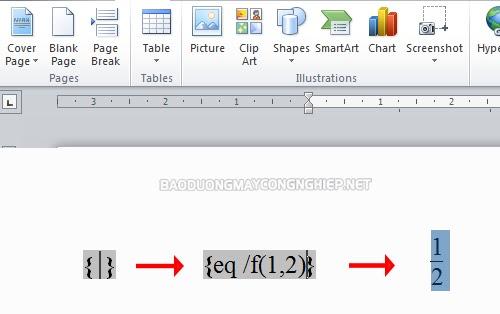 hướng dẫn cách viết phân số trong word