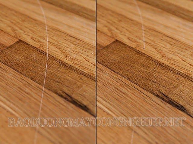 Trước và sau khi xử lý sàn gỗ bị xước